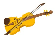 Violin with bow vector cartoon illustration. vector illustration