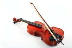 Violin with bow on white Royalty Free Stock Photos
