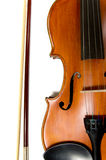 Violin and bow on white