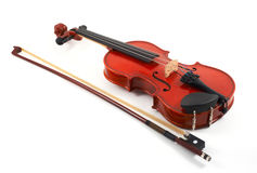 Violin with bow on white backg Royalty Free Stock Images