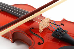 Violin with bow on white backg Royalty Free Stock Photo