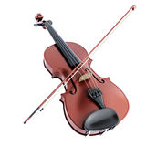 Violin and bow on a white background Stock Photos