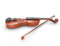 Violin with bow. On white background. 3d illustration Royalty Free Stock Photography