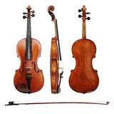 Violin and bow on white background Stock Photos