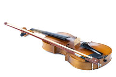 Violin and bow on a white background. Stock Photos