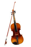 Violin and bow on a white background. Royalty Free Stock Photography
