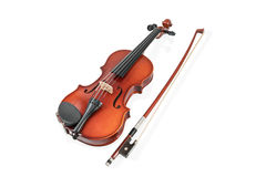 Violin and bow on white Royalty Free Stock Photography