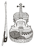Violin with bow. Zentangle stylized. Pattern. Vector  Stock Image