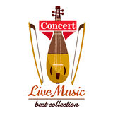 Violin with bows. Concert live music emblem. With vector icon of string musical instrument viol gadulka Royalty Free Stock Photos