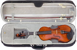 Violin in the box cutout Royalty Free Stock Photography