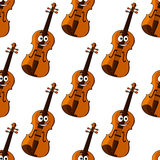 Violin cartoon character seamless pattern Stock Photos