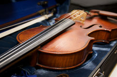 Violin in Case. A violin in a case with bow stock photos