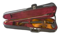 Violin in case. Violin in carrying case isolated on white Stock Image