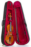 Violin and case over white Royalty Free Stock Photo