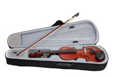 Violin and case on a white background Royalty Free Stock Image