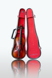 Violin and case on white background Stock Image