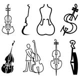 Violin, cello and bass icons Royalty Free Stock Photos