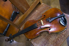 Violin on the chair Royalty Free Stock Photography