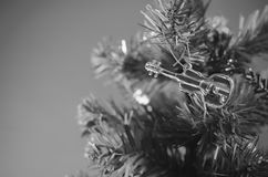 Violin on christmas tree black and white color tone style Royalty Free Stock Images