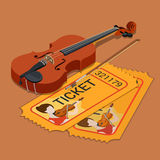 Violin classic orchestra attendance  ticket booking flat vector Royalty Free Stock Image