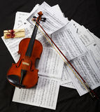 Violin. Classical musical instruments on musical sheet Stock Photos