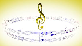 Violin clef rotating with music sheets, loop. Violin clef rotating in the center of music sheets notes carousel, seamless loop stock video