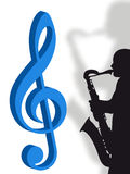 Violin clef and saxophonist Stock Images
