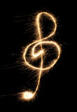 Violin clef sparkler Stock Photography
