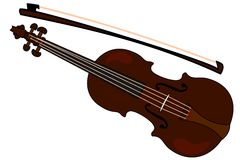 Violin clipart. Violin with a bow. Clipart, vector image Royalty Free Stock Photo