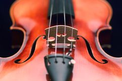 Violin close up. Close up of violin bridge Stock Photography