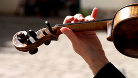 Violin close-up, hands, girl playing stock footage
