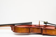 Violin Close Up View on White Background Stock Photos