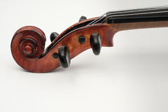 Violin Close Up View on White Background Royalty Free Stock Photography