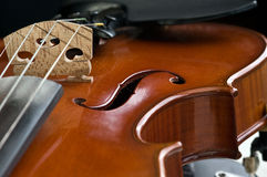 Violin closeup. Details of a violin, closeup Royalty Free Stock Images