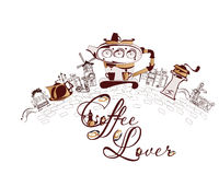 Violin and a coffee of cup for a coffee lover. Royalty Free Stock Photo