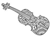 Violin coloring book for adults vector Stock Image