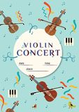 Violin concert poster design template. Classic music poster design elements Royalty Free Stock Photos