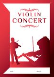 Violin concert poster vector. Violin concert poster design template. Classic music design elements Royalty Free Stock Photo