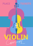Violin Concert Vector Concept. Violin concert concept with place and tickets blocks. Colorful violin vector illustration. For symphonic orchestra live concert Stock Images