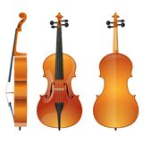 Violin or contrabass musical instrument with bow. Sketch icon.  illustration Royalty Free Stock Photography