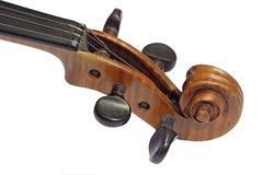 Violin Detail. Detail from an old violine isolated on white background stock images