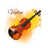Violin detailed sketch, colored violin on paint splash background. Isolated on white VECTOR illustration with Stock Photos