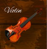 Violin detailed sketch, colored violin on wooden background.VECTOR illustration. Dark brown wood. Royalty Free Stock Photo