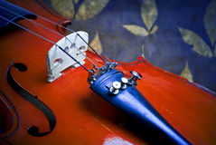 Violin details. With leafs background Royalty Free Stock Image