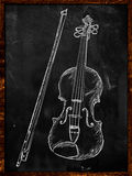 Violin Drawing Sketch on blackboard. Music background Royalty Free Stock Photo