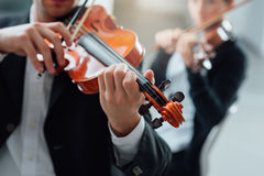 Violin duet performance Royalty Free Stock Image