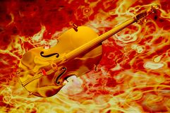 Violin electric. Golden violin fiery music concept 3d render Stock Image