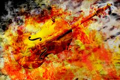Violin electric. Golden violin fiery music concept 3d render Stock Images
