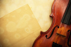 Violin and empty yellow paper Stock Photography