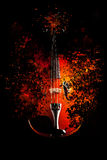 Violin is exploding. Dispersion effect Stock Photography